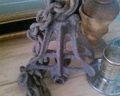 Antique industrial pulley farm fresh iron pulley frame and chain industrial pulley