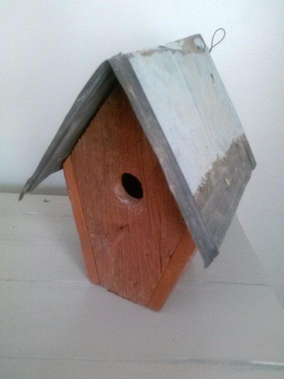 Primitive Handmade whimsical rustic barnwood birdhouse