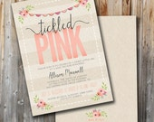 Tickled Pink Baby Shower Invitation, Girl, Custom, Printable, Double Sided