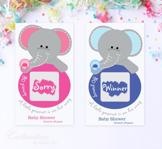 10 Blue or Pink Baby Elephant Baby Shower Scratch Off Game Cards - Baby Shower Game