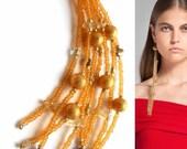 Gold Bronze Citrine and Freshwater Pearl Tassel Earrings