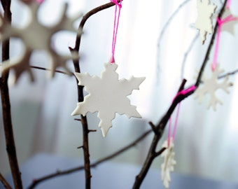 Snowflakes, christmas decoration made of porcelain