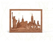 postcard wood - New York City, three-card-set