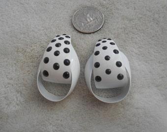Vtg RETRO Pierced Earrings-Pretty Enamle Poka Dotted Hoops-R3618