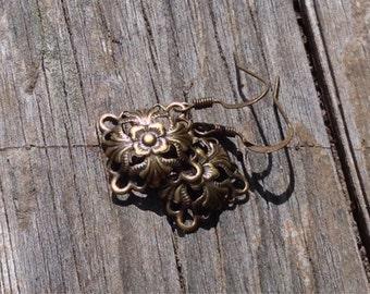 Antiqued Brass Filigree Diamond Earrings