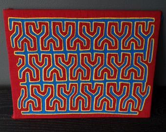 "70s collectible Colombian Kuna  Mola abstract geometric cloth/ red yellow cobalt blue/ pop art style: 12""x 9"""