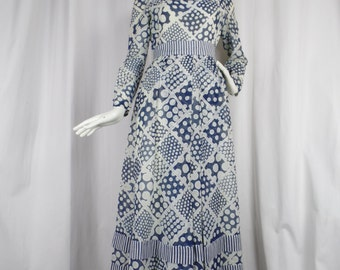 60s Roger Freres Paris sheer cotton muslin blue & ivory cocktail gown/summer patio glam/ polka dot +stripes: fits 6/8 US