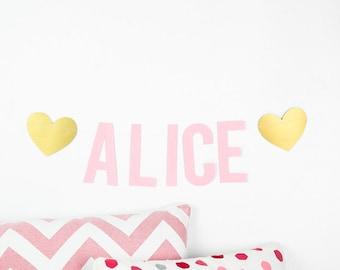 Pink girl name garland and gold hearts