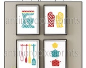 Damask Kitchen Tools Red Teal Yellow Art Collection  -Set of (4) - Wall Art Prints (Unframed)