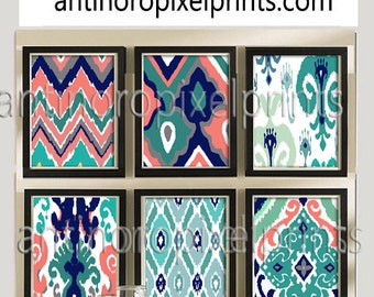 Coral Navy Teal Grey Ikat Picture, Set of (6) Wall Art Prints, Custom Colors Sizes Available, #205595988