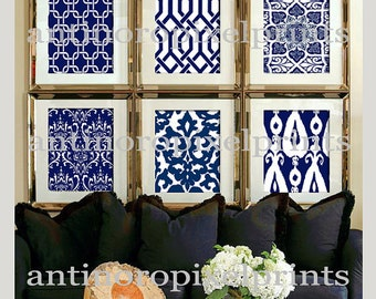 Damask Print Wall Art Navy White Picutures Wall Art -Set of (6) - 8x10 Prints - Your Custom Sizes Available (UNFRAMED) #152868614