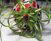 Handmade ornament with red and green holiday dots