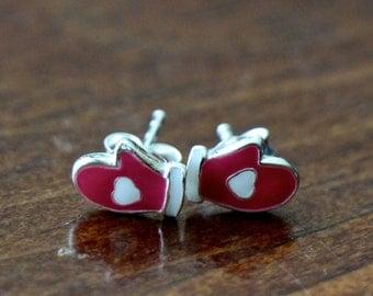 Red Mitten Earrings- Winter Earrings- Sterling Silver- Christmas Jewelry- Holiday Jewelry-White Heart- Girls Jewelry