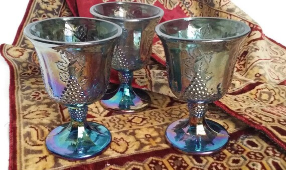 Vintage Blue Indiana Glassware Harvest Grape Water Goblets, Iridescent Blue, Carnival Glasswedding