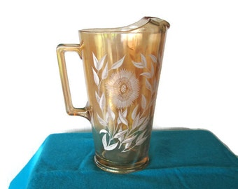 Vintage Iridescent Jeannette Glass Pitcher Marigold Cosmos with Drink Lip 1940s