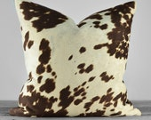 Pillow Cover - Faux Cowhide Chocolate Brown Cow Velvet Fabric  - SAME FABRIC both sides - Pick Your Pillow Size