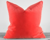 Pillow Cover - Belgium Cotton Velvet Fabric  - Coral - SAME FABRIC both sides - Pick Your Pillow Size