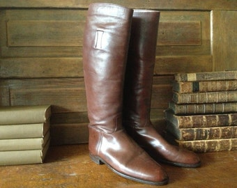 1940s Riding Boots Made in England Handcrafted Chestnut Brown Leather Equestrian 8,5 UK