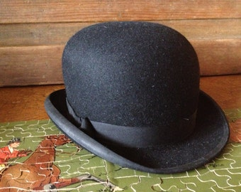 Ladies Black Bowler Derby Hat, Made in London, Lock and Co Hatters