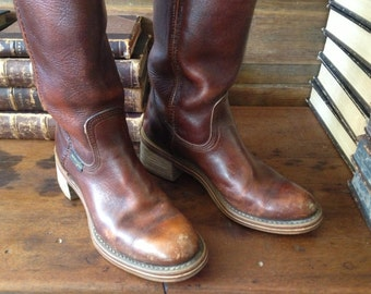 Wrangler Brown Leather Boots, Tall Riding Boots, Rustic Chestnut Brown Cowboy Boots, Size 5.5 - 6.5 US