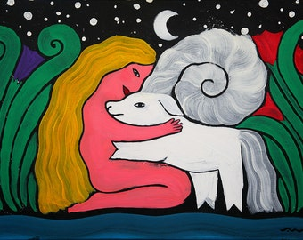 Girl and Goat. Original Art Painting, Acrylic on Canvas.