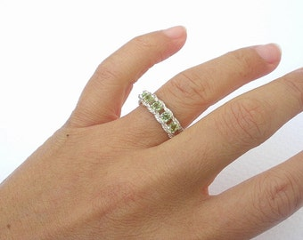 Natural Gemstone 3.5mm Faceted Peridot 5 Stone 925 Sterling Silver Mother's Ring