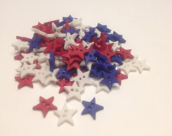 15 tiny assorted red white blue star buttons, 9 mm (B6)