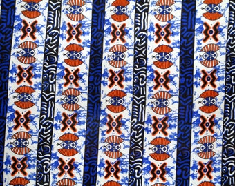 Blue Batik Curtains - Authentic African Batik - Made to Order - Set of Two - Custom Curtains