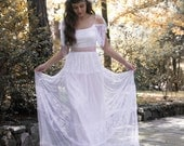 Boho French Chantilly Lace and Tulle Wedding Dress Bohemian Bridal Gown Long Wedding Dress White Bridal Gown - Handmade by SuzannaM Designs