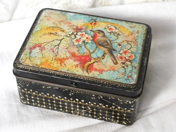vintage dutch tin biscuit tin small tin container shabby chic tin brocante tin bird blossom