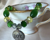 "Fancy Dog Collar Jeweled Statement Necklace Puppy Collar Green and Yellow Glass & Crystal Beads w/ Joy Pendant 8.5"" Medium"