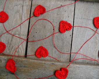 Crocheted red hearts Garland, Wedding garland, Wall Hanging, Crochet Wedding Garland, crochet ornament, embellishment,applique