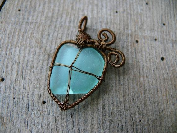Heart sea glass, sea mermaid pendant, Birthday gift, NOT broken heart, brown copper wire, genuine sea glass jewelry, wire wrapped pendant