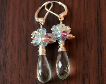 Spring Bridal Earrings, Green Amethyst Gemstone, Freshwater Pearl, Aquamarine, Sterling Silver Jewelry - Spring Bouquet - Free Shipping