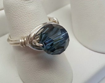 Handmade Silver Plated Wire Wrapped Large Blue Swarovski Crystal Ring -  Holiday, Gift, Christmas