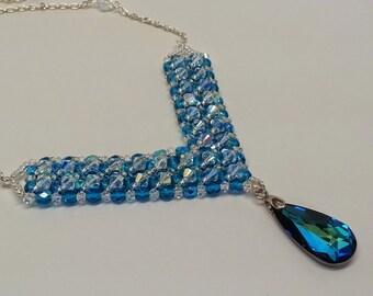 Bermuda Blue Swarovski Crystal Beaded Bib Necklace - Clear AB, Czech Glass, Silver, Chain, Bridal, Holiday, Christmas, Gift, Wedding