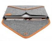 "13"" Macbook Sleeve Macbook Case Laptop Case Laptop Sleeve Wool Felt Case for Pro 13"" Retina Genuine Leather Edge Bag Envelope Style TopHome"