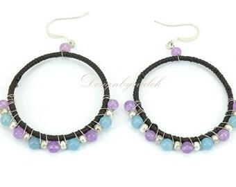 Blue and pink quartz earring hook.