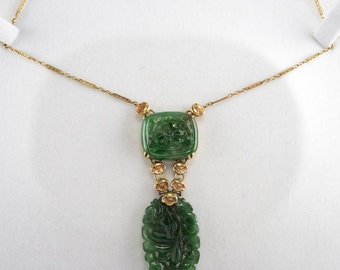 Art Nouveau rich spinach green and flower antique necklace