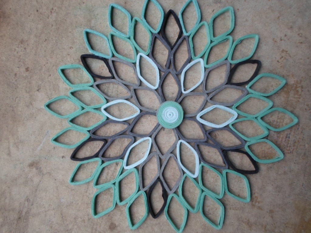 Mint Green Gray Wall Hanging Contemporary Home Decor Paper