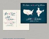 Destination wedding invitation India USA Two Countries Two Hearts bilingual wedding invitation Save the Date Postcard