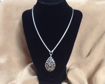 Vintage Silvertone VJ Chain Necklace with Silvertone Cut Out Scroll Design