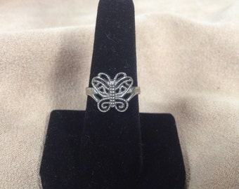 Vintage Costume Silvertone Butterfly Ring, Size 7.5