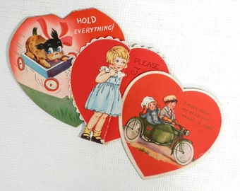 Antique Valentines Heart Shaped Cards Lot of 3