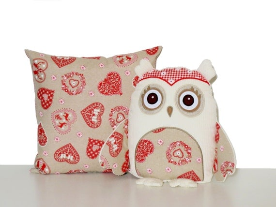 Valentine's Day Owls, Stuffed Owl Pillow Cases