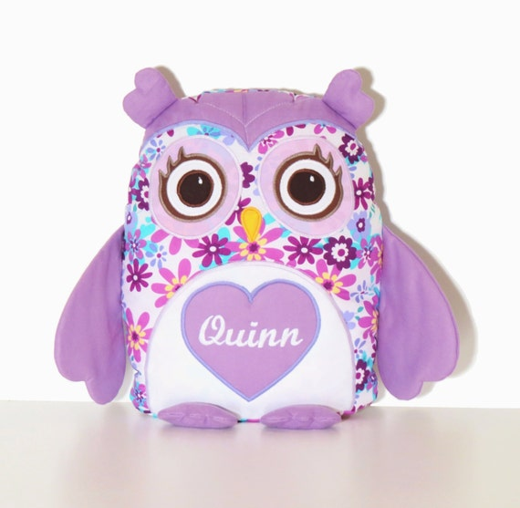 Owl Pillow Cover amd Pillow, Owl Throw Pillow, Monogram Pillow , Designer Owl  Pillow,   Custom Baby Pillow,  purple, white