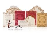 Custom Luxury Laser Cut Invitations- Couture Red, Ivory and Gold wedding Invitation  - Metallic Invitations - #InviteCoutureDesign