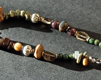 Adjustable Artisan Inspired Natural Bracelet With Multi Gemstones