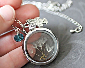Dandelion Necklace,  Dandelion Wish Necklace, Owl Necklace, Floating Charm Locket, Dandelion Seed Necklace, Wisdom Necklace, Owl Jewelry