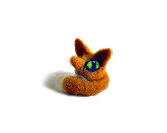 Miniature Fox Sculpture, Needle Felted Pocket Animal Soft Sculpture
